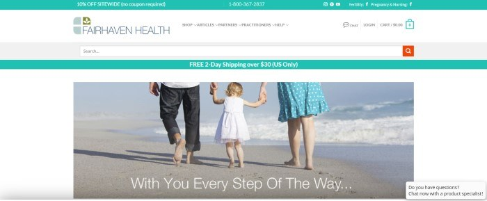This screenshot of the home page for Fairhaven Health has an aqua header announcing a 10% off sale, a white navigation bar, another aqua bar announcing two-day shipping and a large photo showing a man and a woman from the waist down, walking barefoot along a beach as they hold hands with the blond girl in a white dress who is walking between them.