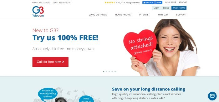 This screenshot of the home page for G3 Telecom has a white background and navigation bar with blue and red elements, including text in the main section announcing the risk-free trial for G3 telecom with a red call to action button, next to a smiling brunette woman in a white shirt holding a red heart with white text on it reading