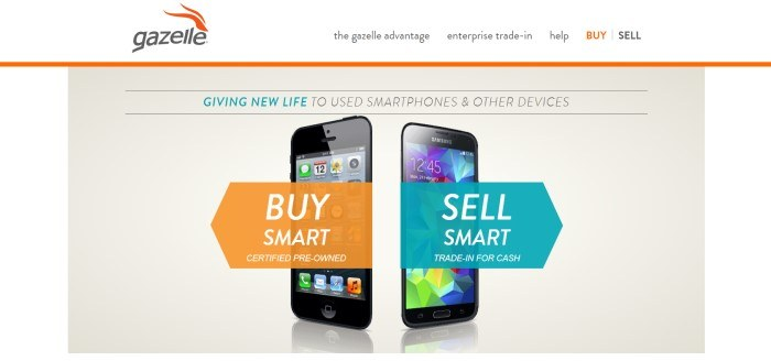 This screenshot of the home page for Gazelle has a white navigation bar with dark gray and orange elements above a beige main sections showing two smart phones, one with an orange tag inviting people to buy certified pre-owned phones, and one with a teal tag inviting people to trade in their used cell phones for new ones.