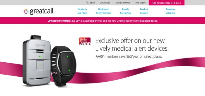 This screenshot of the home page for Great Call has a gray header, a white navigation bar with blue text, a pink sales bar, and a white section with photos of Lively medical alert devices, along with a pink graphic ribbon and black text announcing the Lively devices.