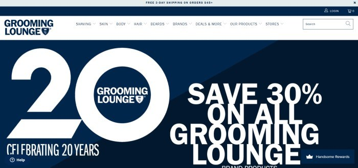 This screenshot of the home page for Grooming Lounge has a blue and gray header offering free two-day shipping, a white navigation bar, and a large blue and black section with white text announcing a 30% off sale.