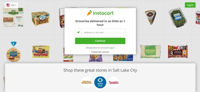 This screenshot of the home page for Instacart has a light gray background containing squares with small photos of grocery products in each one, along with a search bar with black text announcing the ability to get groceries in as little as an hour.