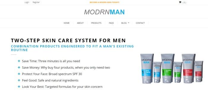 This screenshot of the home page for Modrn Man has a white header, white navigation bar, and white background in the main section, along with text in gray, blue, and black describing the two-step skin care systems for men and a row of skin-care products in gray bottles with blue and green labels.