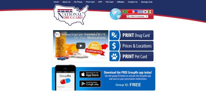 This screenshot of the home page for National Drug Card has a blue and red navigation bar and log above a white main section with blue windows containing photos of prescription medications and cell phones, along with text in white lettering inviting customers to use the drug cards and to download the free GroupRx app to start saving money.