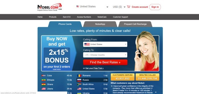 This screenshot of the home page for NobelCom.com has a white header, a dark navigation bar, a white main section with a blue middle containing a search section, an ad section for a bonus on first orders, a red call to action button, and an image of a smiling blonde woman in a red shirt talking on a black cell phone, above a list of rates for international calls.