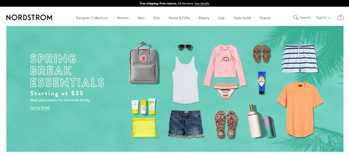 This screenshot of the home page for Nordstrom has a black header, a white navigation bar, and a photo of several Nordstrom items, such as sandals, sunglasses, shorts, a tank top, and a backpack lying against a green background, along with white wording announcing spring break essentials.