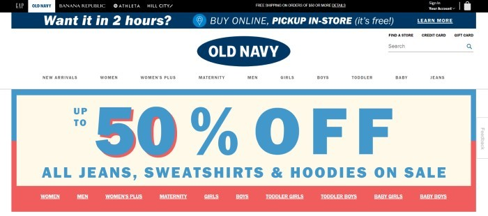 This screenshot of the home page for Old Navy has a blue and black header, a white navigation bar with the Old Navy logo in the center, and a large 50%-off sales announcement in blue, beige, and red.