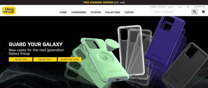 This screenshot of the home page for Otterbox has a black header with yellow lettering announcing free shipping, a white navigation bar, and a black section showing green, transparent, and blue phone cases, along with white text inviting people to protect their phones and a row of small yellow boxes with links for looking up the proper cases for various Samsung Galaxy phones.
