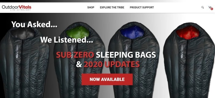This screenshot of the home page for Outdoor Vitals has a white navigation bar above an overhead photo showing a row of subzero sleeping bags, along with white and red text announcing the sleeping bags and a red call-to-action button.