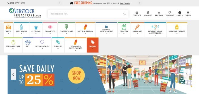 This screenshot of the home page for Overstock Drugstore has a gray header, a white primary navigation bar, and a large secondary navigation bar that includes white background tabs with text and icons in bright colors such as orange, pink, blue, purple, and green, as well as a graphic showing people shopping in a grocery store next to a blue section with white and yellow words inviting customers to save up to 25%.