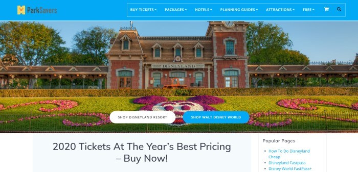 This screenshot of the home page for ParkSavers has a blue navigation bar above a photo of a red brick building with a sign reading