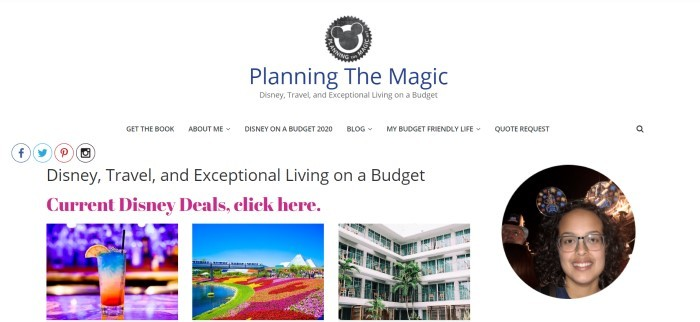 This screenshot of the home page for Planning The Magic has a white background, a gray logo, and text in black, purple, and maroon describing how to experience Disney adventures while on a budget, along with photos of Disney attractions and a round photo of the face of a smiling dark-haired woman with glasses.