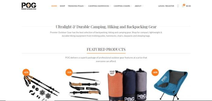 This screenshot of the home page for Premier Outdoor Gear has a white navigation bar, a black and orange logo, and black text announcing ultralight, durable hiking gear above a row of products, including trekking poles, chairs, and tents in black, orange, and teal.
