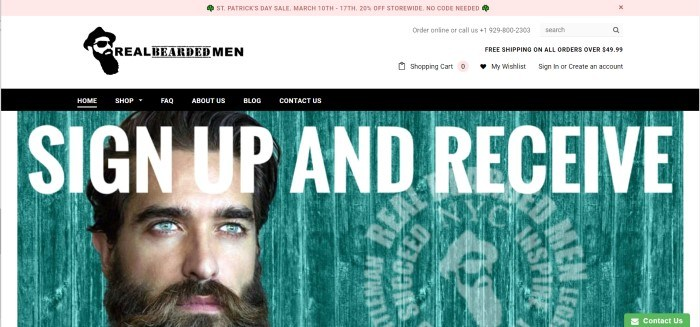 This screenshot of the home page for Real Bearded Men has a white header, a black navigation bar with white text, and a photo of a dark-haired, blue-eyed man with a beard standing in front of a teal background behind white lettering inviting customers to sign up and receive $5 off their first order.