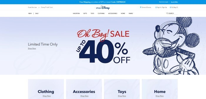 This screenshot of the home page for Shop Disney has a blue header announcing free shipping, a white navigation bar, and a gray section with a sketch of Mickey Mouse next to text in red and dark blue announcing a 40% off sale, above a white section with a row of gray windows with text and links for clothing, accessories, toys, and home.