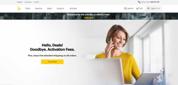 This screenshot of the home page for Sprint has a gray header, a white navigation bar, a bar showing a stormy cityscape and an invitation to help people who were impacted by a tornado, and a photo of a smiling woman in a yellow shirt talking on a cell phone with a tablet in her other hand, next to black text announcing deals and a yellow call to action button.