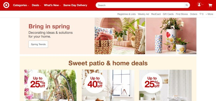 This screenshot of the home page for Target has a red navigation and search bar, a white background, and a main section with beige background windows with photos of floral spring home décor and patio furniture, along with text in brown and dark red announcing spring home décor and patio deals.