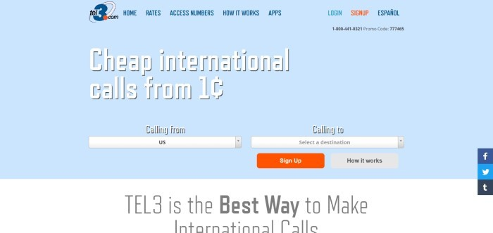 This screenshot of the home page for Tel3 Advantage has a light blue background, a transparent navigation bar, and white text announcing international calls from 1 cent, along with a search bar to find out exact calling rates and an orange call to action button.