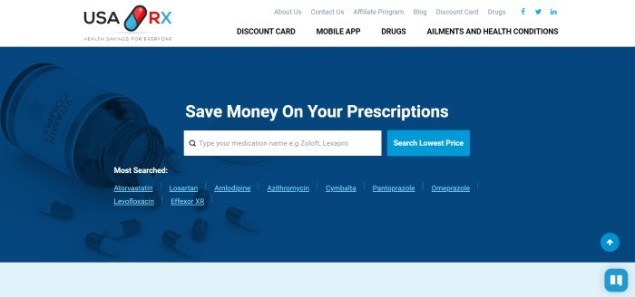 This screenshot of the home page for USA Rx has a white header and navigation bar above a blue main section with a white search bar and white text inviting customers to save money on their prescriptions.