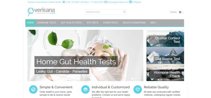 This screenshot of the home page of Verisana Lab has a white header, a gray navigation bar, and a photo of a woman in lab gloves and a white surgical cap hovering over leaves in petri dishes, as well as a gray text box with white lettering announcing home gut health tests, and on the right side of the page, there is a column with photos and text boxes announcing three other types of at-home health tests.