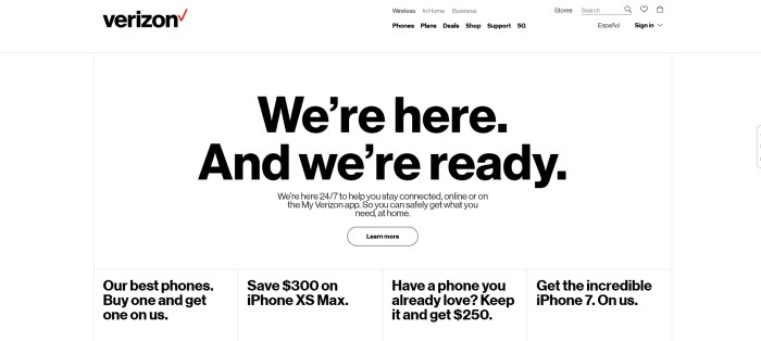 This screenshot of the home page for Verizon Wireless has a plain white background throughout the page, along with black text describing the My Verizon app in the main section, as well as a row of ads for deals on various cell phones at the bottom of the page.