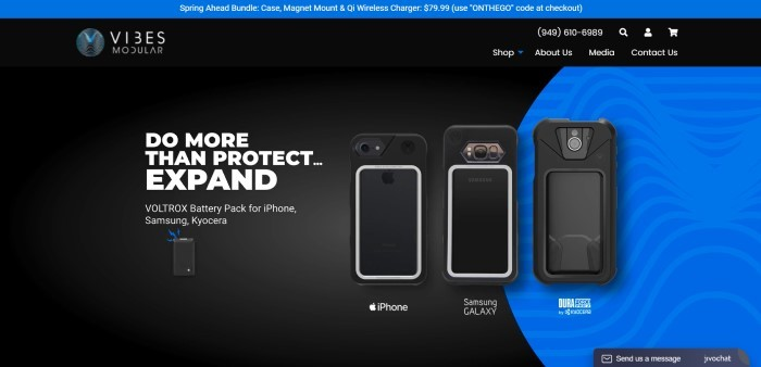 This screenshot of the home page for Vibes Modular has a royal blue header above a main black section with photos showing three samples of phone cases with battery packs, along with white text announcing the ability to expand phones as well as protect them.