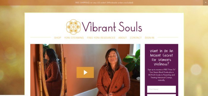 This screenshot of the home page for Vibrant Souls has a tan heading announcing free shipping, a gold background, and a white middle section with purple and white text in the navigation bar above a photo of a dark-haired woman in a brown cardigan meditating on the edge of a bed in a warm-colored bedroom, along with a purple text box with white lettering inviting women to sign up for free tips.