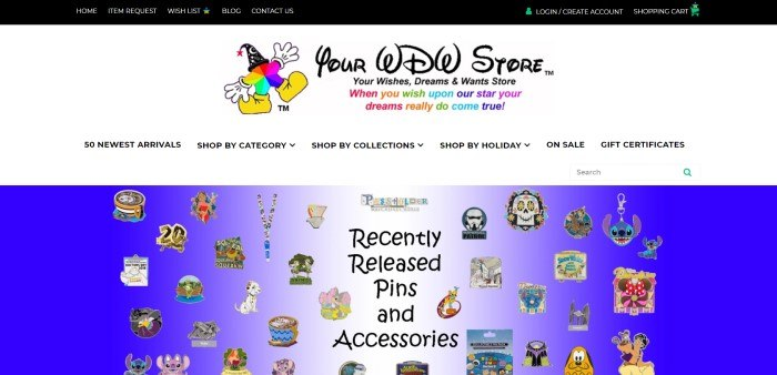 This screenshot of the home page for Your WDW Store has a black navigation bar above a multicolored star with white gloves, yellow shoes, and a black hat decorated with stars and moons, along with text in black and rainbow colors announcing that dreams can come true with Your WDW Store, and then a white navigation bar with black text above a blue and white photo showing multicolored collector's pins featuring a variety of Disney characters.