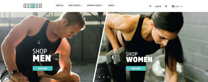 This screenshot of the home page for Zhou Nutrition has a photo of a man in a black shirt using a hand weight and a photo of a woman in a black sports bra and leggings using a hand weight, along with blue call-to-action buttons for both of them reading 'shop men' or 'shop women' below a white navigation bar.