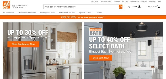 This screenshot of the home page for The Home Depot has a white search and navigation bar, an orange bar announcing free delivery, and two side-by-side photos showing 1) a white kitchen with stainless steel appliances, and 2) a white tiled bathroom, and both photos have white text announcing sales, along with orange call-to-action buttons.