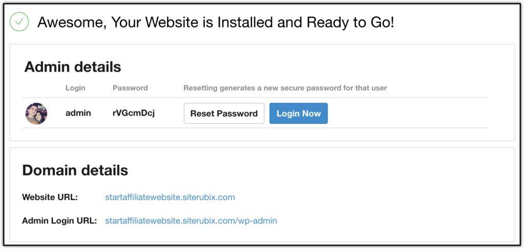 Affiliate website login details