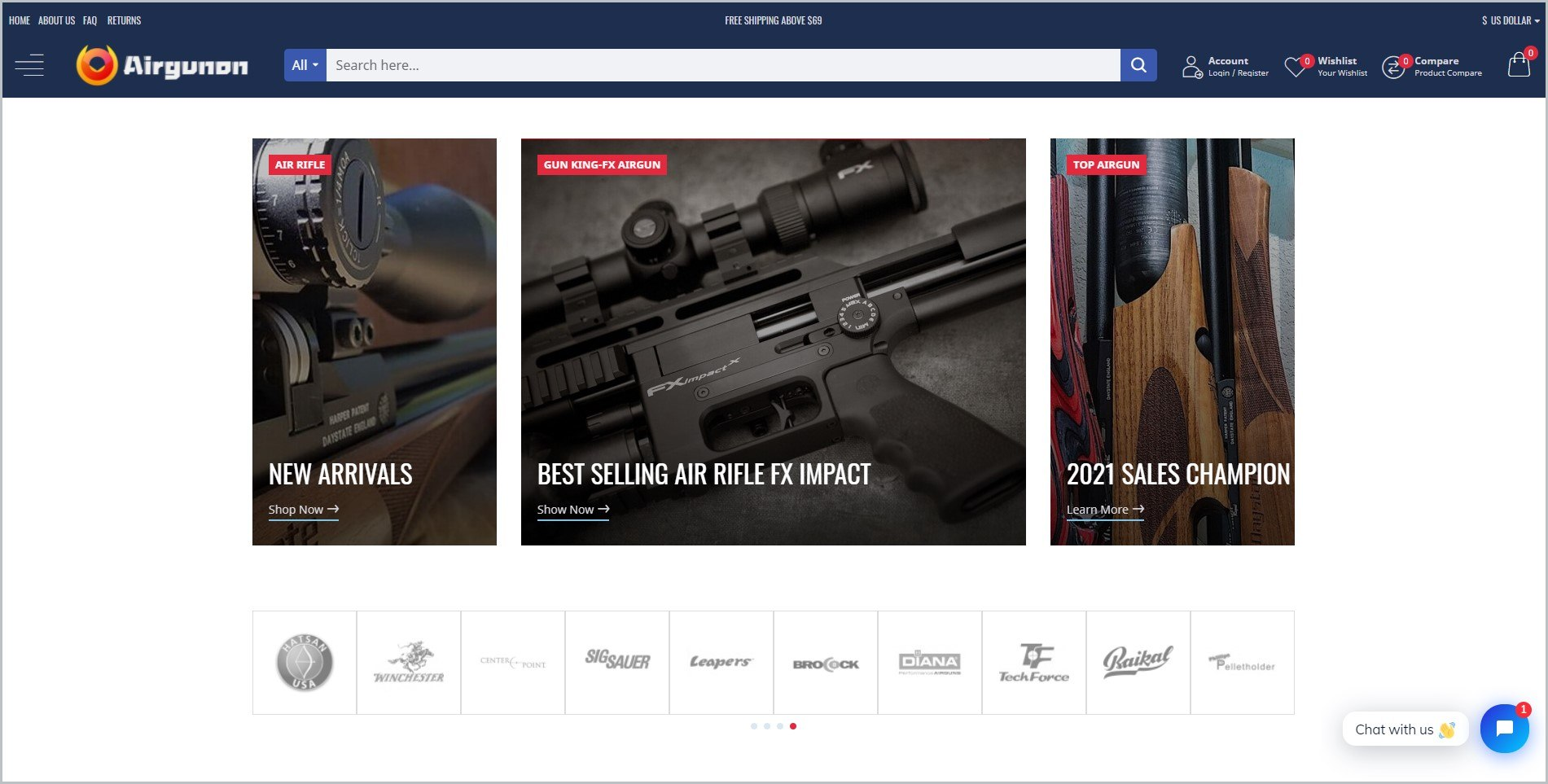 screenshot of Airgun On homepage with dark blue header bearing the website's name and main navigation menu, it features images of different air guns