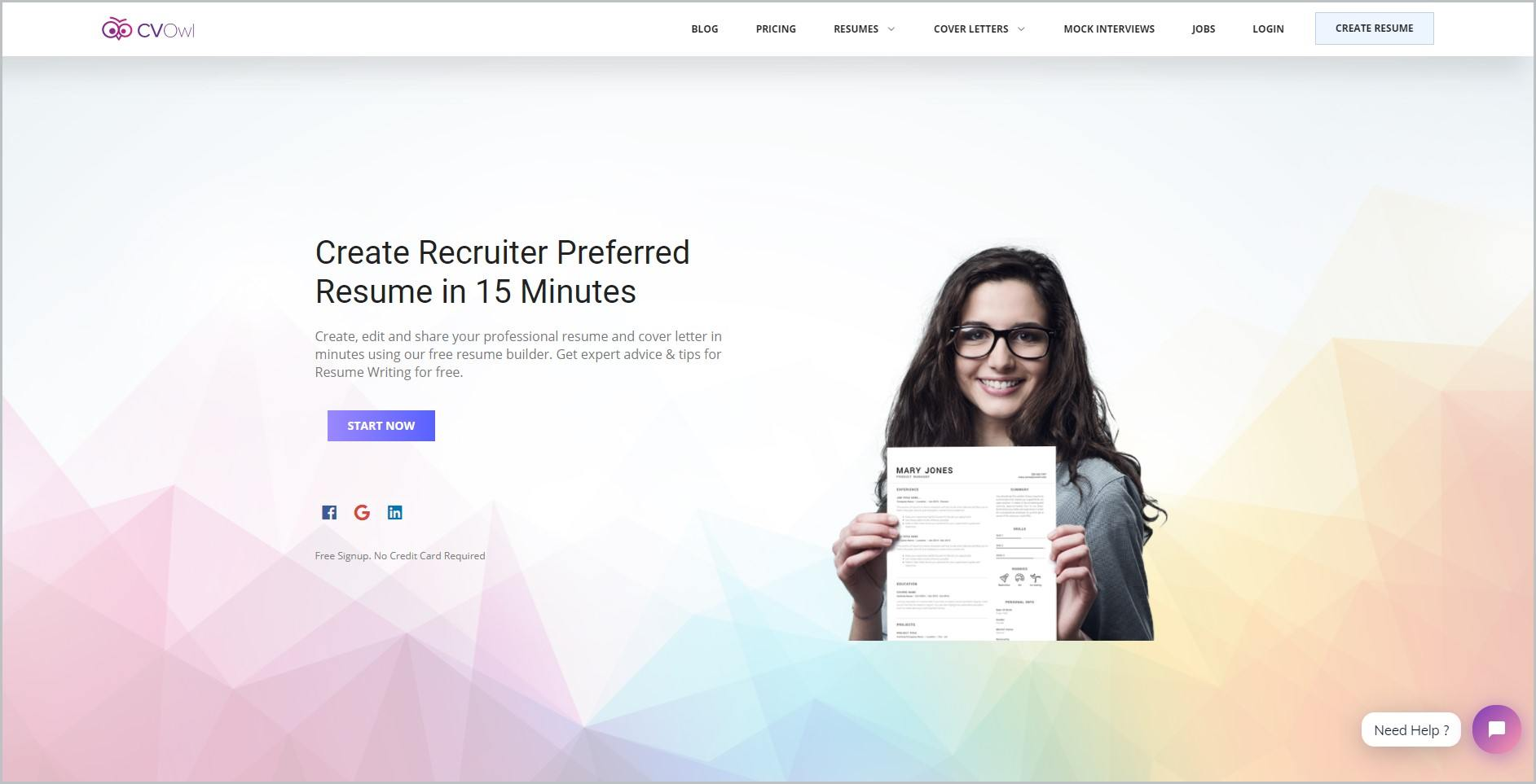 screenshot of CV Owl homepage with white header bearing the website's name and main navigation menu, it showcases an image of a smiling brunette with eyeglasses holding out a resume