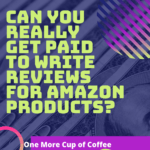 neon green and dark purple stripes and circles with text, 'can you really make get paid. to write reviews on amazon