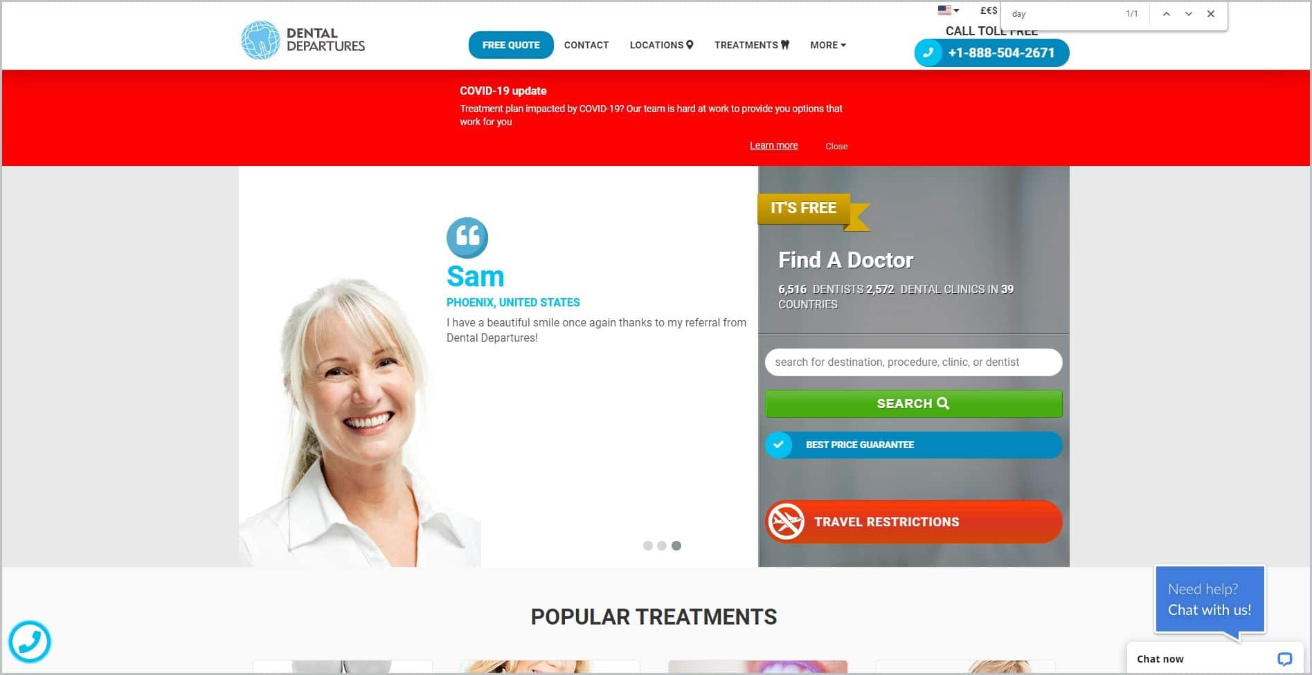 screenshot of Dental Departures homepage, with white header bearing the website's name and main navigation menu, it features an image of a smiling female dentist
