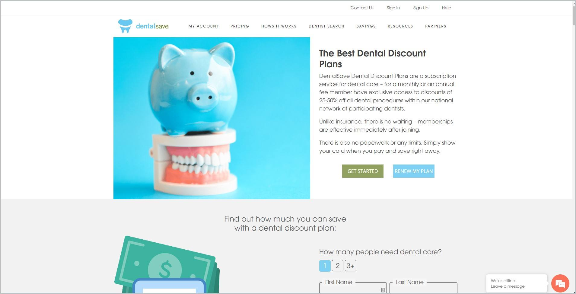 screenshot of DentalSave homepage with white header bearing the website's name and the main navigation bar underneath it, it features a picture of a blue piggy bank seated atop a full dental model