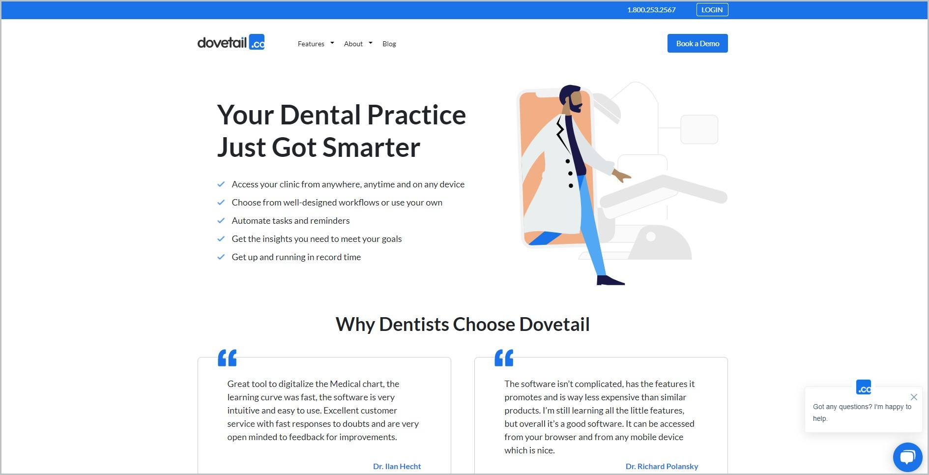 screenshot of Dovetail homepage, with blue announcement bar, white header with the website's name and main navigation menu, it features a cartoon drawing of a dentist with text layout of the platform's features