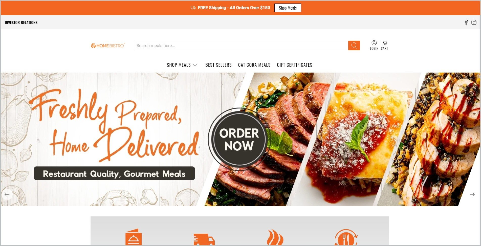 screenshot of Home Bistro, with orange announcement bar, white header with the website's name and main navigation menu, it features images of beautifully plated gourmet dishes