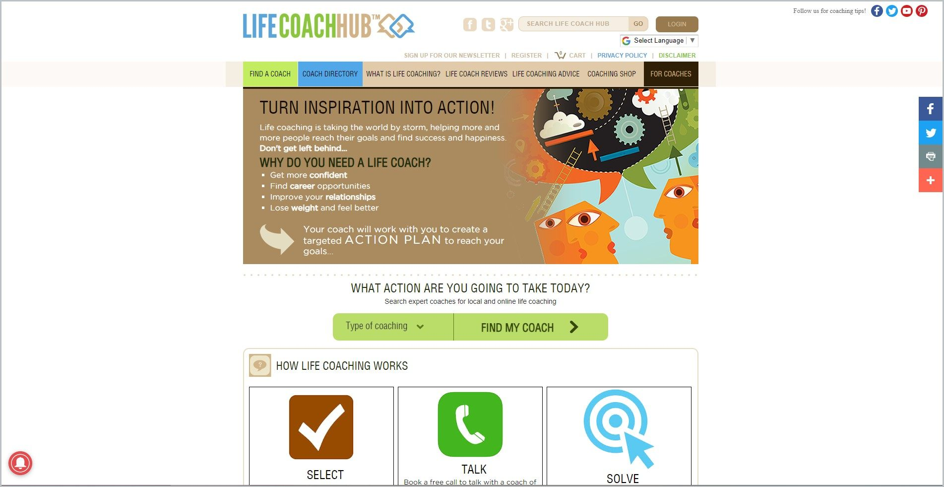 screenshot of Life Coach Hub homepage, with white header with the website's name and mostly brown main navigation bar