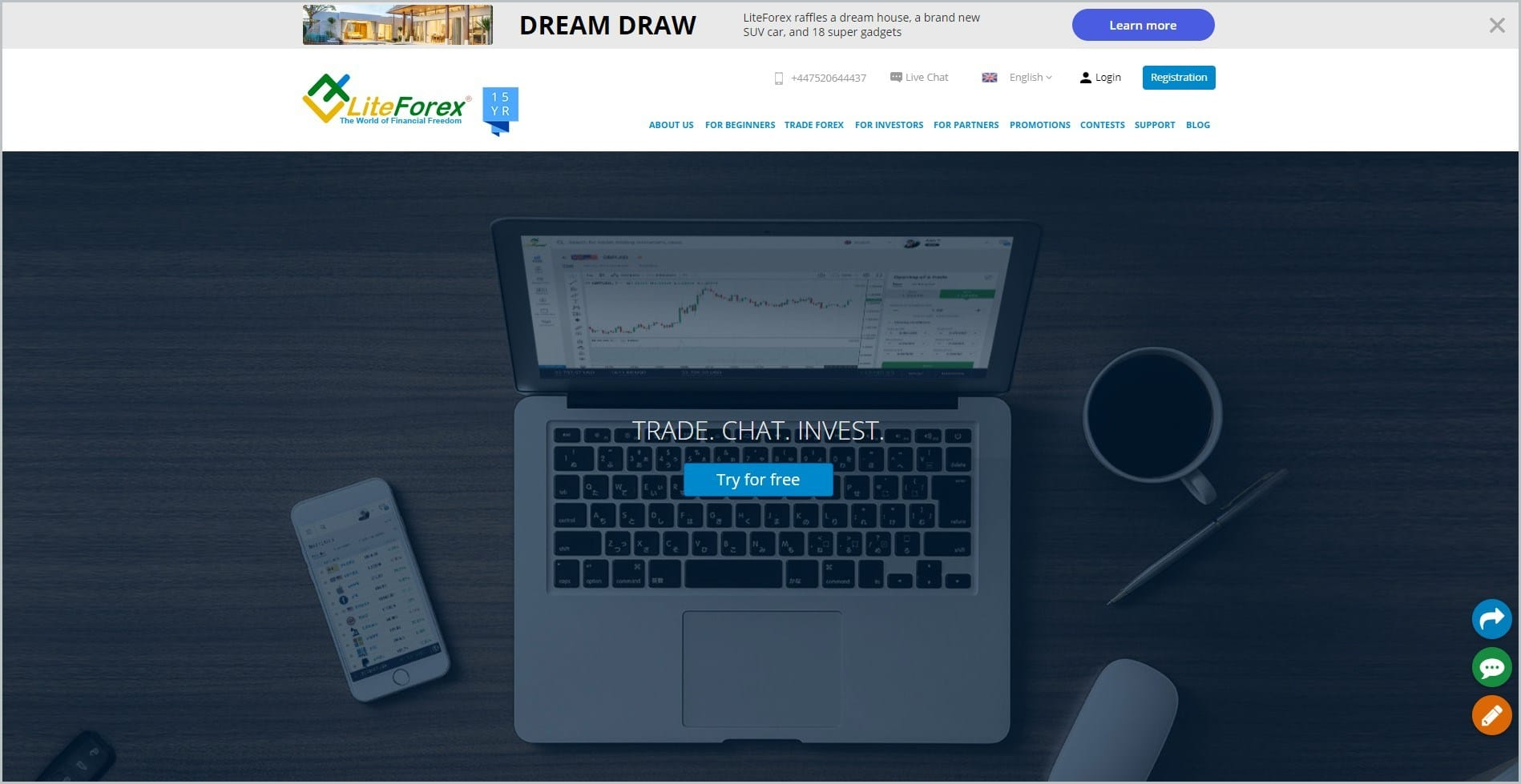 screenshot of LiteForex homepage with grey announcement bar, white header with the website's name and main navigation menu, it features an open laptop with text overlay with free trial button