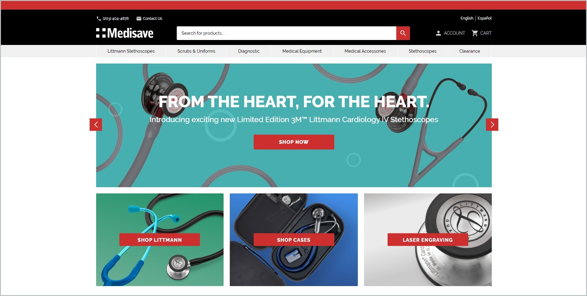 screenshot of Medisave homepage with black header bearing the website's name and search bar, it features images of some of the website's products