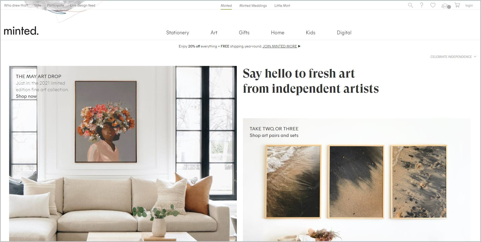 screenshot of Minted homepage with white header with the website's name and main navigation menu, it features an image of living room setup with fine art paintings