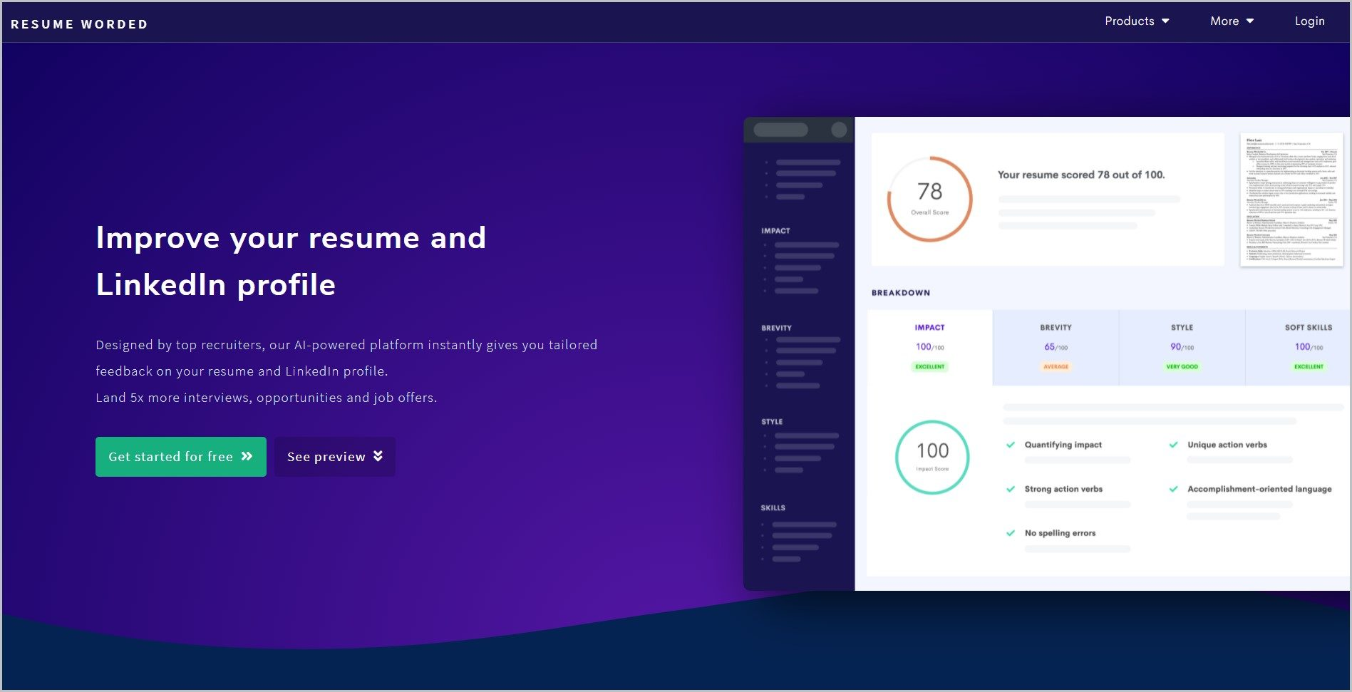 screenshot of Resume Worded homepage with dark blue header with the website's name and main navigation menu, it showcases a generally blue-violet page with an image of their resume tools