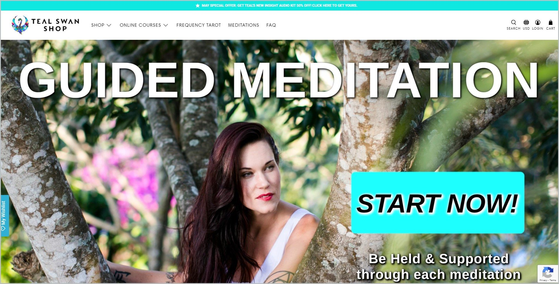 screenshot of Teal Swan homepage with teal announcement bar, white header bearing the website's name and main navigation menu, it showcases an image of Teal Swan with an overlay text 'Guided Meditation'