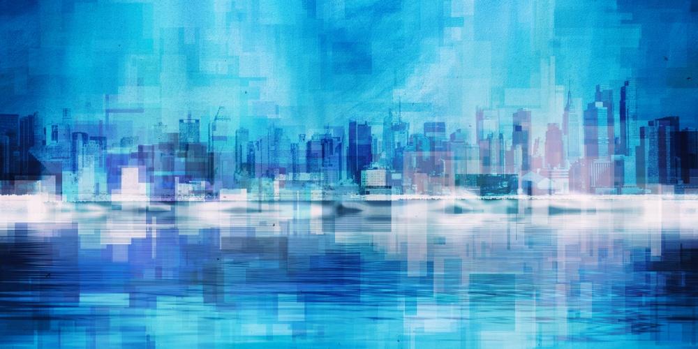 blue art of city skyline