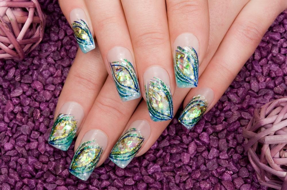 blue shiny acrylic nails on purple background