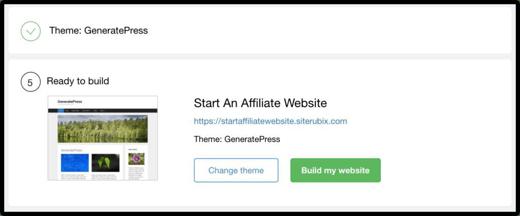build affiliate website button
