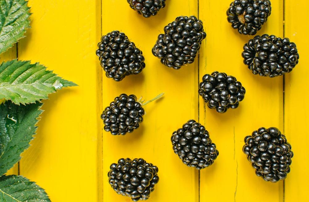 dark blackberries on yellow wooden background