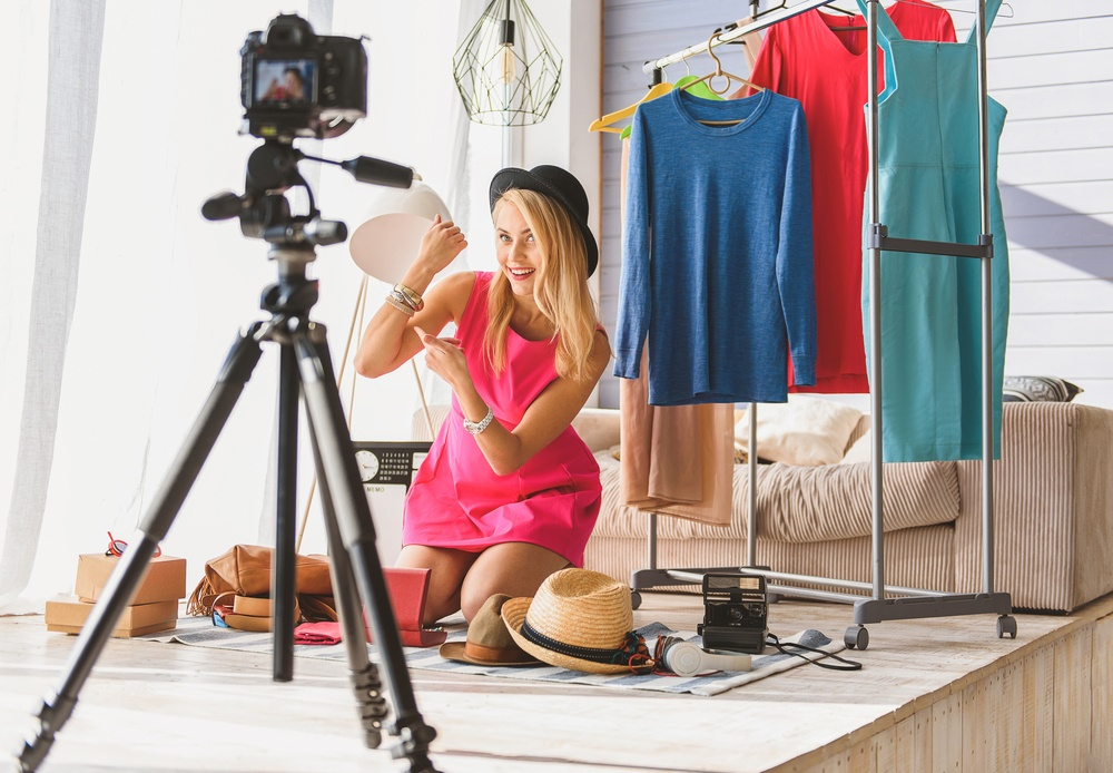 filming a youtube video for a fashion blog