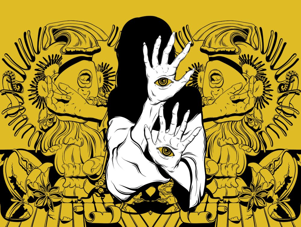 hand drawn black line art with yellow background